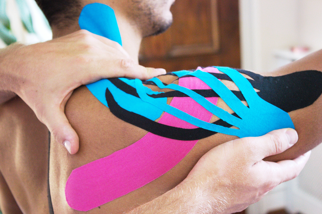 The osteopaths at Blackheath Clinic use sports taping and Kinesiology taping to improve the biomechanics, decrease excess muscle tone and create postural awareness, e.g taping of the shoulder to help shoulder pain and offload the rotator cuff muscles