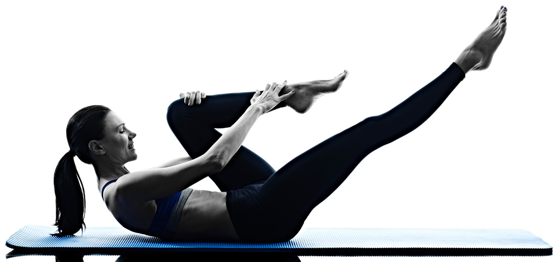 Sportswoman doing Pilates for abdominal strength, core stability and spinal mobility at Blackheath Sports Clinic in London